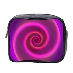 Pink Background Neon Neon Light Mini Toiletries Bag 2 Side