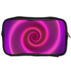 Pink Background Neon Neon Light Toiletries Bags 2 Side