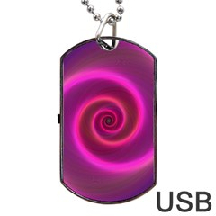 Pink Background Neon Neon Light Dog Tag Usb Flash (two Sides)