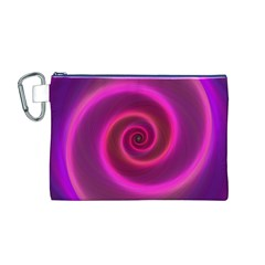 Pink Background Neon Neon Light Canvas Cosmetic Bag (m)