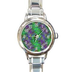 Fractal Spiral Swirl Pattern Round Italian Charm Watch