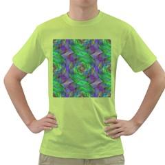 Fractal Spiral Swirl Pattern Green T Shirt