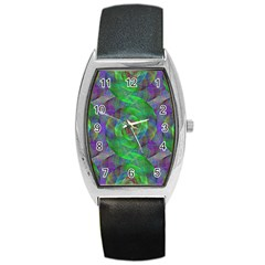 Fractal Spiral Swirl Pattern Barrel Style Metal Watch