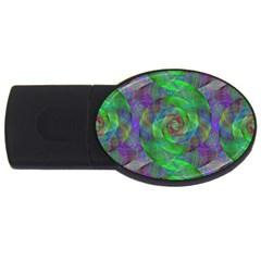 Fractal Spiral Swirl Pattern Usb Flash Drive Oval (4 Gb)