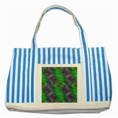 Fractal Spiral Swirl Pattern Striped Blue Tote Bag