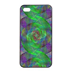Fractal Spiral Swirl Pattern Apple Iphone 4/4s Seamless Case (black)