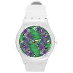 Fractal Spiral Swirl Pattern Round Plastic Sport Watch (m)