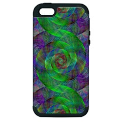 Fractal Spiral Swirl Pattern Apple Iphone 5 Hardshell Case (pc+silicone)