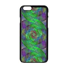 Fractal Spiral Swirl Pattern Apple Iphone 6/6s Black Enamel Case