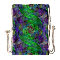 Fractal Spiral Swirl Pattern Drawstring Bag (large)