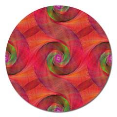 Red Spiral Swirl Pattern Seamless Magnet 5  (round)