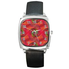 Red Spiral Swirl Pattern Seamless Square Metal Watch