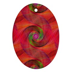 Red Spiral Swirl Pattern Seamless Oval Ornament (two Sides)