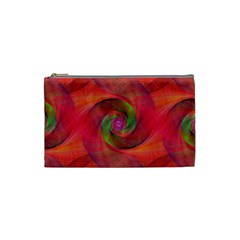 Red Spiral Swirl Pattern Seamless Cosmetic Bag (small)