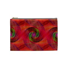 Red Spiral Swirl Pattern Seamless Cosmetic Bag (medium)