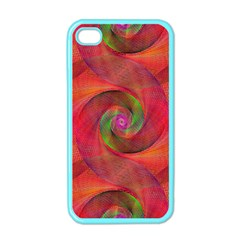 Red Spiral Swirl Pattern Seamless Apple Iphone 4 Case (color)