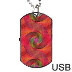 Red Spiral Swirl Pattern Seamless Dog Tag Usb Flash (one Side)