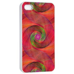Red Spiral Swirl Pattern Seamless Apple Iphone 4/4s Seamless Case (white)
