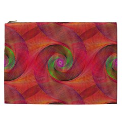 Red Spiral Swirl Pattern Seamless Cosmetic Bag (xxl)