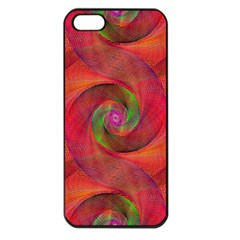 Red Spiral Swirl Pattern Seamless Apple Iphone 5 Seamless Case (black)