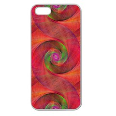 Red Spiral Swirl Pattern Seamless Apple Seamless Iphone 5 Case (clear)