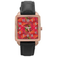 Red Spiral Swirl Pattern Seamless Rose Gold Leather Watch