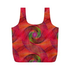 Red Spiral Swirl Pattern Seamless Full Print Recycle Bags (m)