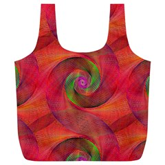 Red Spiral Swirl Pattern Seamless Full Print Recycle Bags (l)