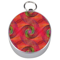Red Spiral Swirl Pattern Seamless Silver Compasses
