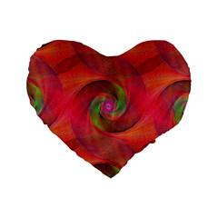 Red Spiral Swirl Pattern Seamless Standard 16  Premium Flano Heart Shape Cushions