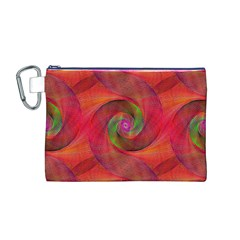 Red Spiral Swirl Pattern Seamless Canvas Cosmetic Bag (m)