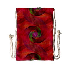 Red Spiral Swirl Pattern Seamless Drawstring Bag (small)