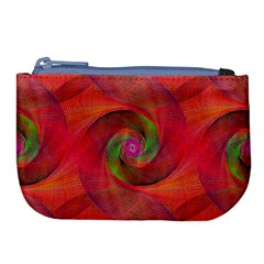 Red Spiral Swirl Pattern Seamless Large Coin Purse