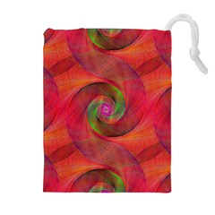 Red Spiral Swirl Pattern Seamless Drawstring Pouches (extra Large)