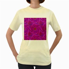 Pink Abstract Background Curl Women s Yellow T Shirt