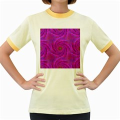 Pink Abstract Background Curl Women s Fitted Ringer T Shirts