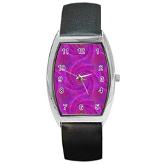 Pink Abstract Background Curl Barrel Style Metal Watch