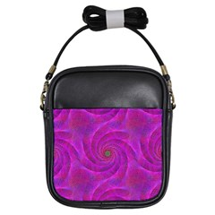 Pink Abstract Background Curl Girls Sling Bags