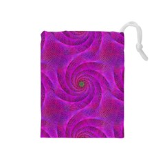 Pink Abstract Background Curl Drawstring Pouches (medium)