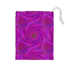 Pink Abstract Background Curl Drawstring Pouches (large)