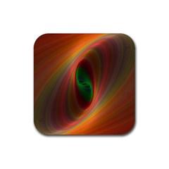 Ellipse Fractal Orange Background Rubber Square Coaster (4 Pack)