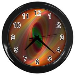 Ellipse Fractal Orange Background Wall Clocks (black)