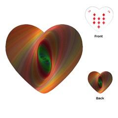 Ellipse Fractal Orange Background Playing Cards (heart)