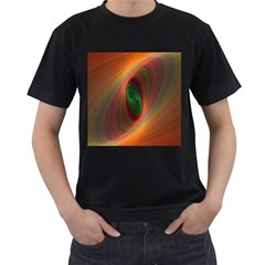 Ellipse Fractal Orange Background Men s T Shirt (black)