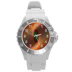 Ellipse Fractal Orange Background Round Plastic Sport Watch (l)