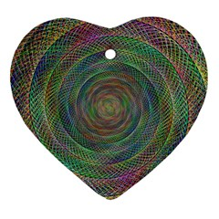 Spiral Spin Background Artwork Heart Ornament (two Sides)