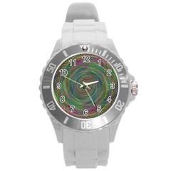 Spiral Spin Background Artwork Round Plastic Sport Watch (l)
