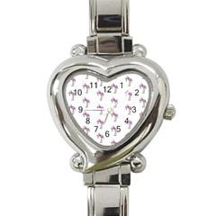 Sweet Flamingo Pattern Heart Italian Charm Watch