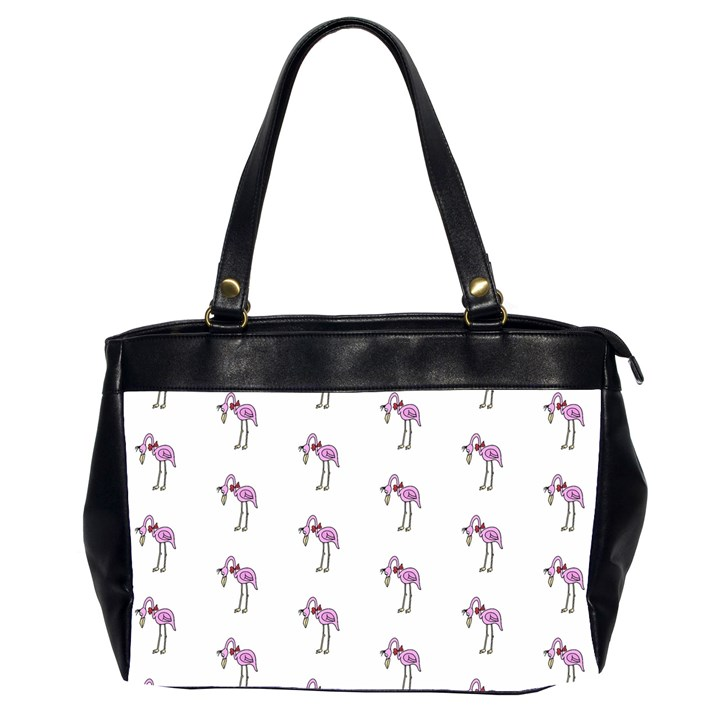 Sweet Flamingo Pattern Office Handbags (2 Sides)