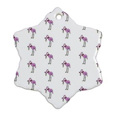 Sweet Flamingo Pattern Snowflake Ornament (two Sides)